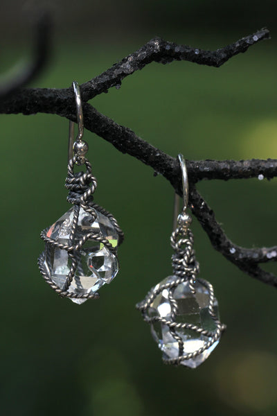 Herkimer Diamond Oxidized Wrapped Earrings - Annick Designs - 4