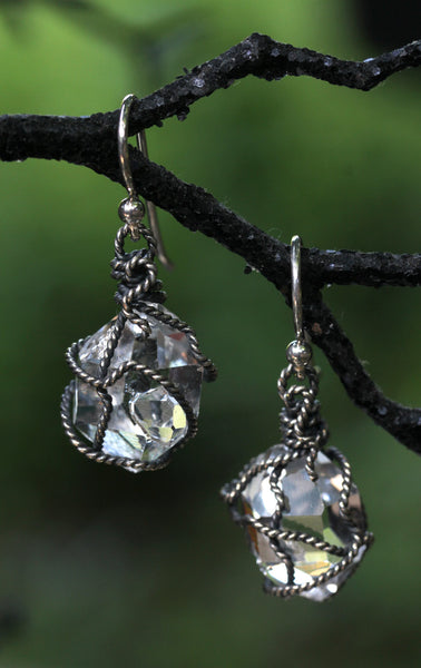 Herkimer Diamond Oxidized Wrapped Earrings - Annick Designs - 2