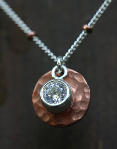 Copper Cubic Zirconia Disk Necklace - Annick Designs - 1
