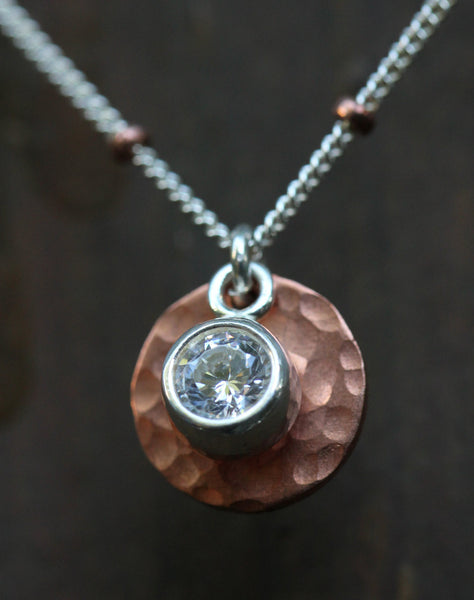 Copper Cubic Zirconia 5 Disk Necklace - Annick Designs - 4