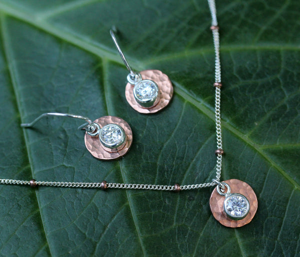 Copper Cubic Zirconia Disk Necklace - Annick Designs - 2