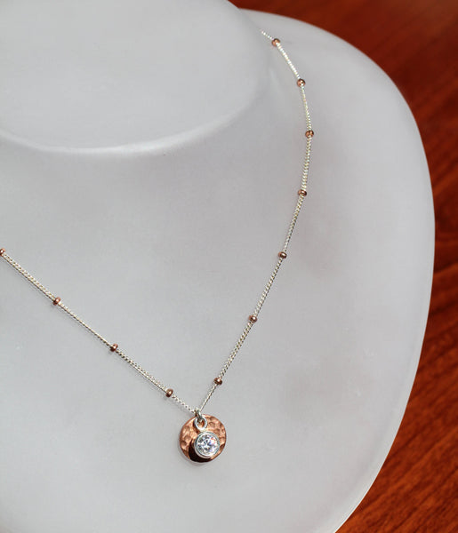 Copper Cubic Zirconia Disk Necklace - Annick Designs - 5