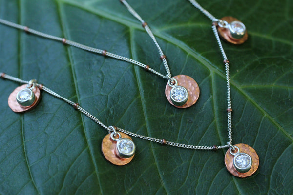Copper Cubic Zirconia Disk Necklace - Annick Designs - 3