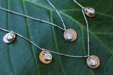 Copper Cubic Zirconia 5 Disk Necklace - Annick Designs - 1