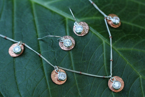 Copper Cubic Zirconia 5 Disk Necklace - Annick Designs - 3
