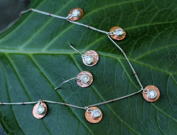 Copper Cubic Zirconia 5 Disk Necklace - Annick Designs - 2