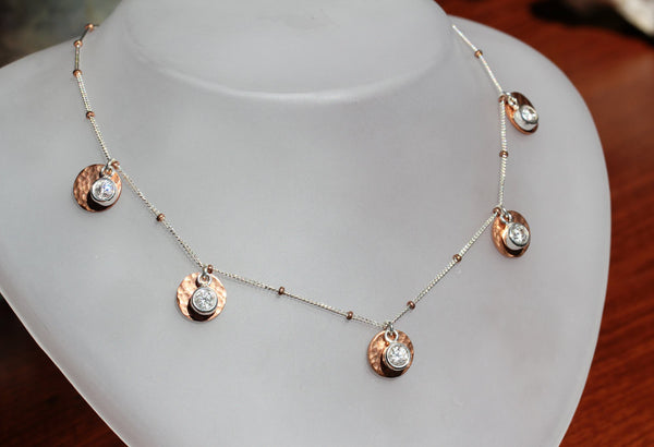 Copper Cubic Zirconia 5 Disk Necklace - Annick Designs - 5
