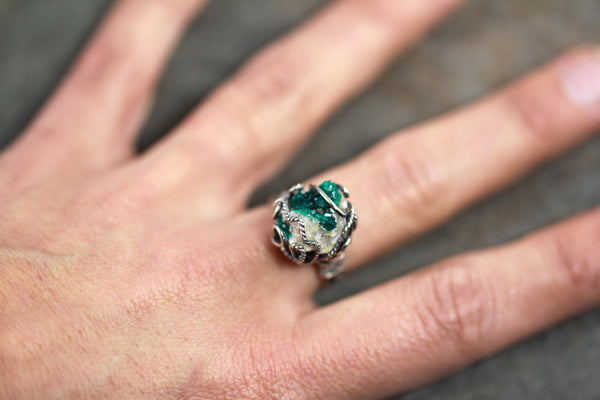 Dioptase Druzy Ring - Size 8 - Annick Designs - 4