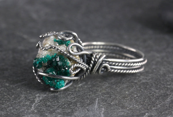 Dioptase Druzy Ring - Size 8 - Annick Designs - 2