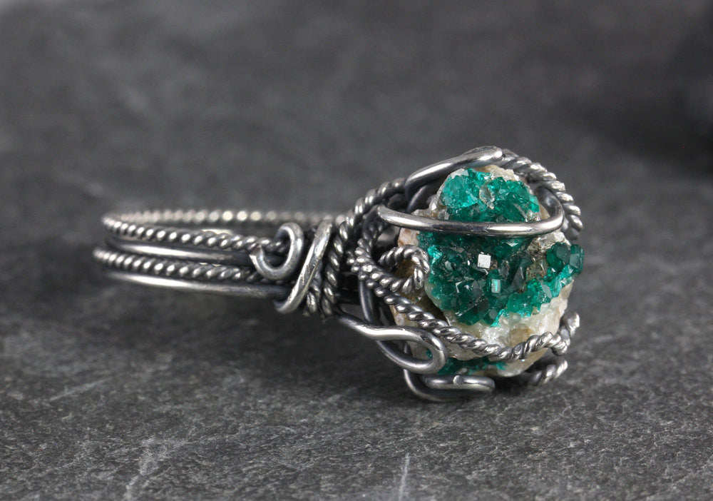 Dioptase Druzy Ring - Size 8 - Annick Designs - 1