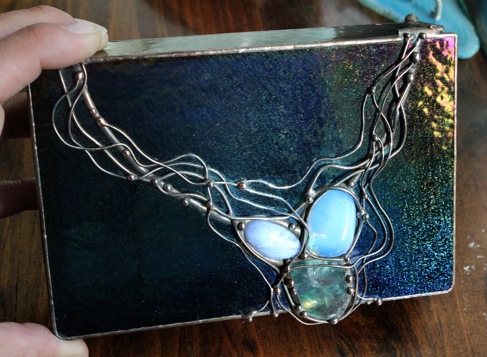 Iridescent Wired Stained Glass Box with Stones