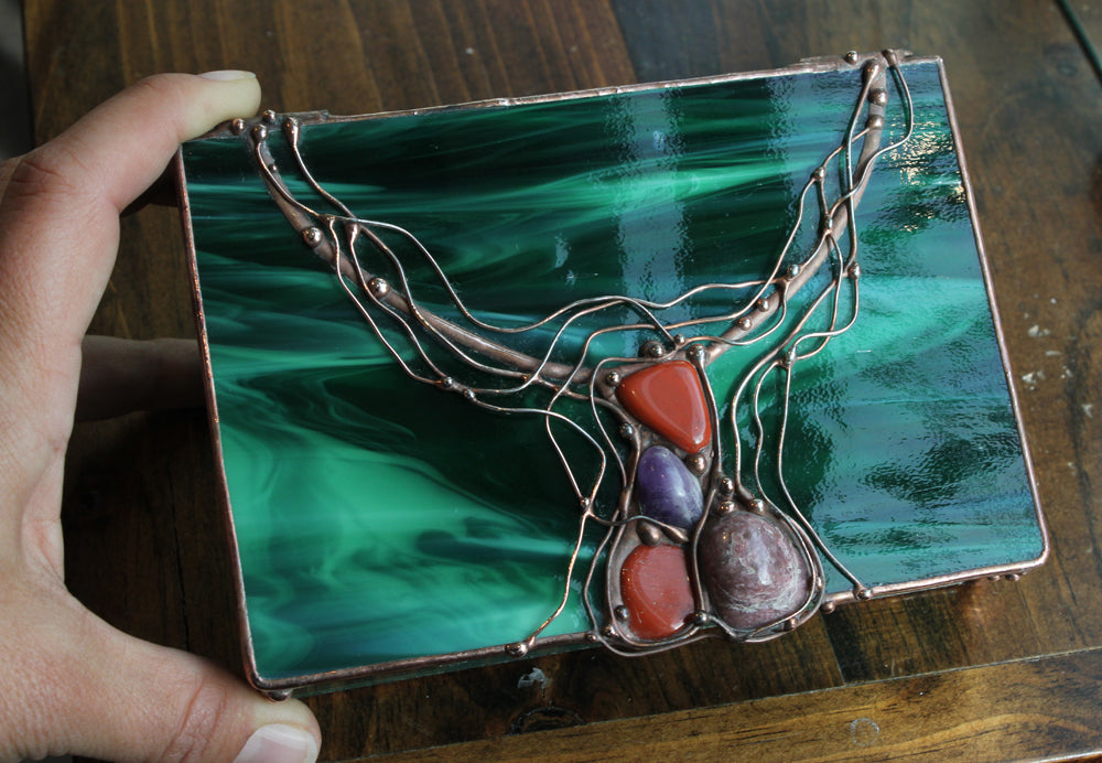 Malachite Green Stained Glass Box with Copper and Stones