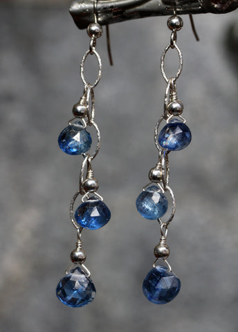 Kyanite Three Drop Chain Link Earrings