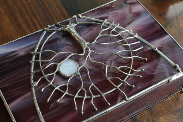 Tree of Life Light Purple Stained Glass Box
