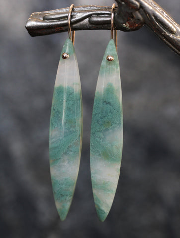 Seafoam Green Moss Agate Earrings