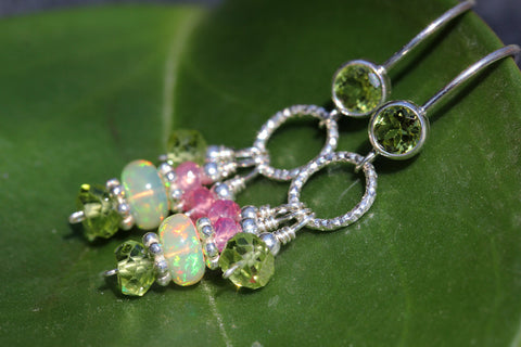 Ethiopian Opal Spinel Peridot Circle Drop Earrings - Annick Designs - 1