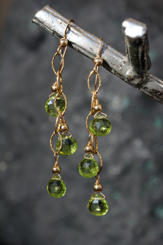 Peridot Three Drop Chain Link Earrings