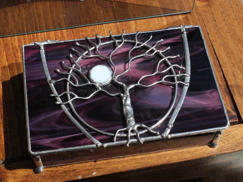 Tree of Life Dark Purple Stained Glass Box