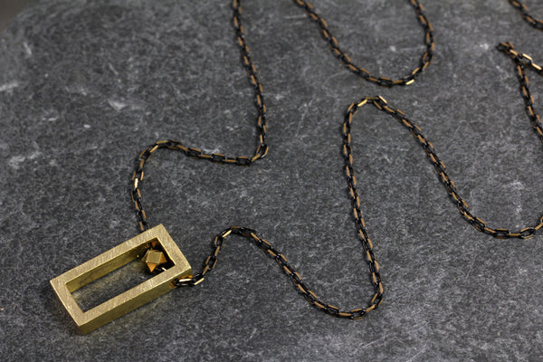 Brass Rectangle Block Necklace - Annick Designs - 3
