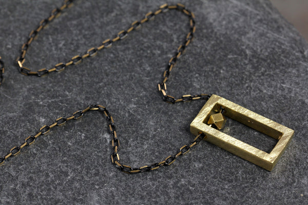 Brass Rectangle Block Necklace - Annick Designs - 5