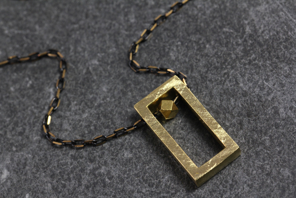 Brass Rectangle Block Necklace - Annick Designs - 1