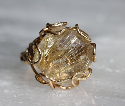 Rutilated Quartz Cushion Cut Gold Wrap Ring