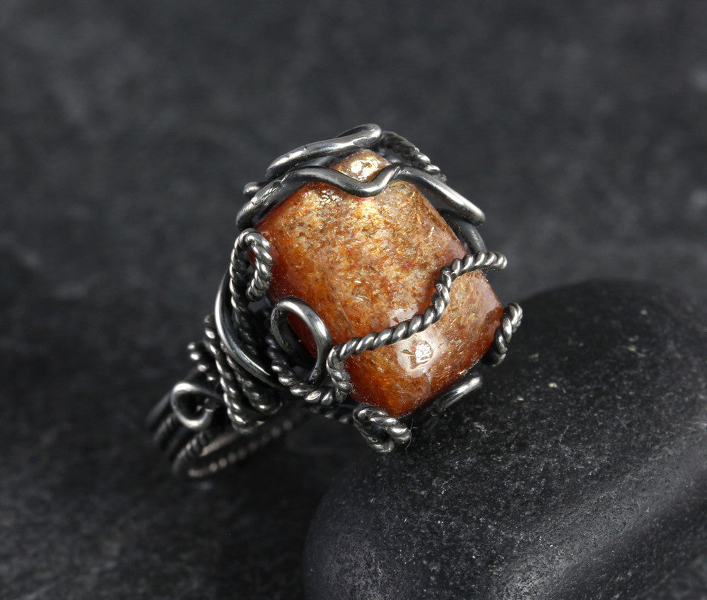 Sunstone Rectangular Wrapped Ring - Annick Designs - 1