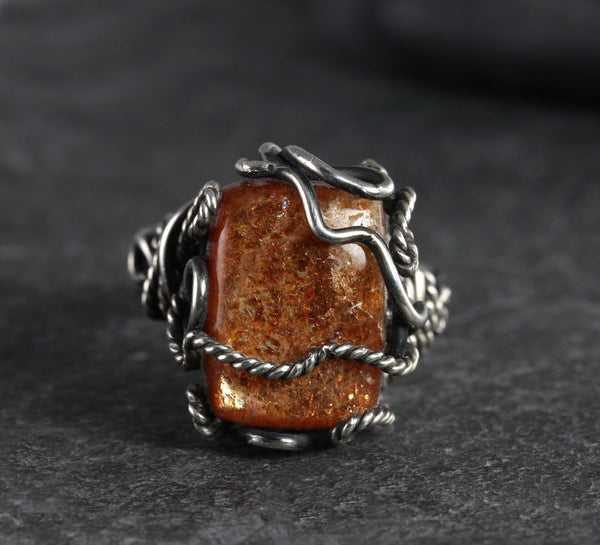 Sunstone Rectangular Wrapped Ring - Annick Designs - 2