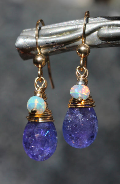 Tanzanite Opal Drop Earrings
