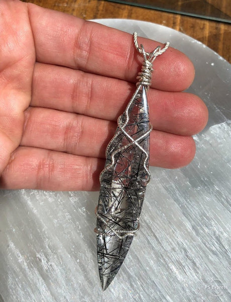 Tourmalinated Long Marquis Pendant