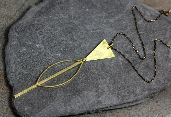 Marquis Stick Brass Necklace - Annick Designs - 5