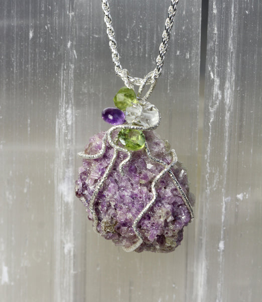 Vesuvianite Purple Crystal Druzy Pendant with peridot, amethyst and Herkimer diamond