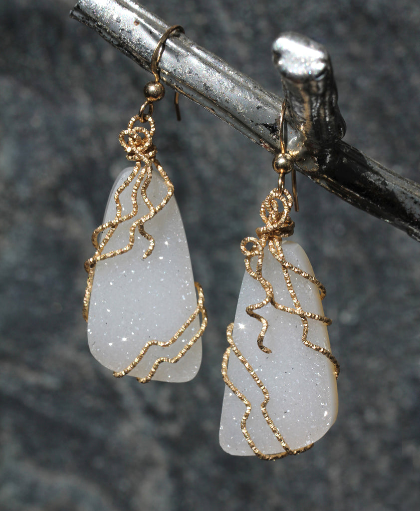 white quartz earrings drop ladies diamond gold
