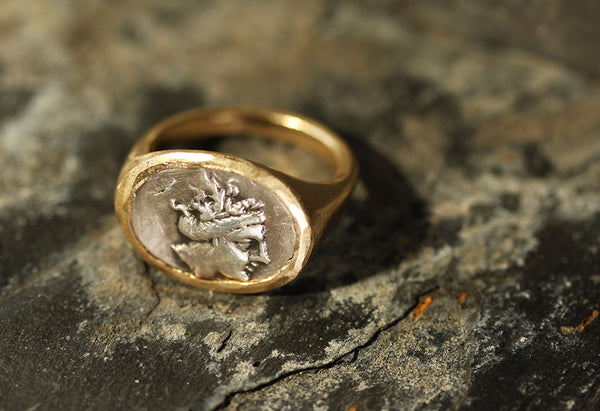 Laura Lee Jewellery Trove Collection - The Nymph Ring - Coin Signet style in 9ct Gold & Silver