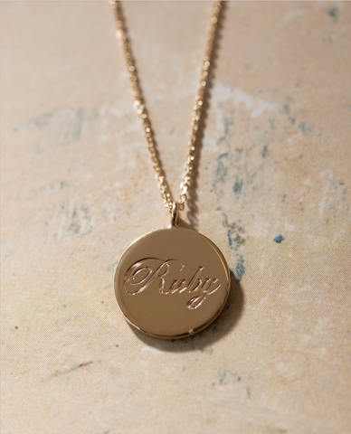 engraved coin necklace - childrens name - 9ct gold