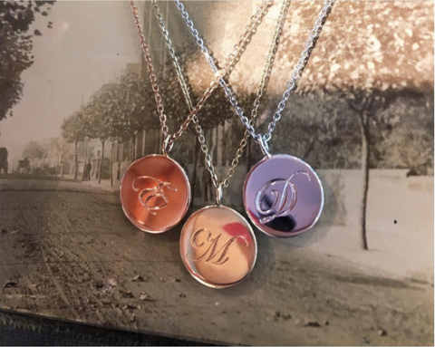Laura Lee Jewellery Engraved Initial Coin Necklaces