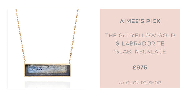 Laura Lee Jeweller chooses her favourite Laura Lee Jewellery piece - the Labradorite 'Slab' Necklace in 9ct Yellow Gold