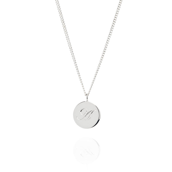 Sterling Silver Coin Necklace Engraved With an Initial by Laura Lee Jewellery