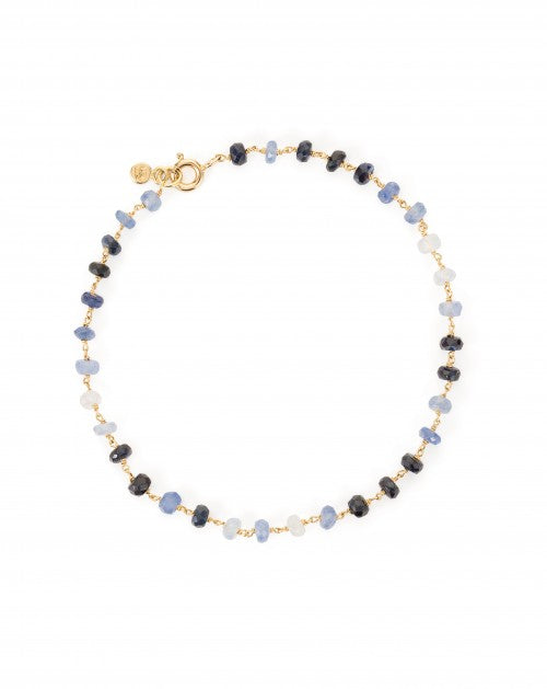 18ct yellow gold bracelet with sapphires, tanzanite and kyanite. pack shot. boutique jewellery store.