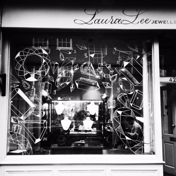 Laura Lee Jewellery London Jewellers Window, Hand Illustrated, Vintage Gems by Toni Hawkes & Jonathan McKenzie
