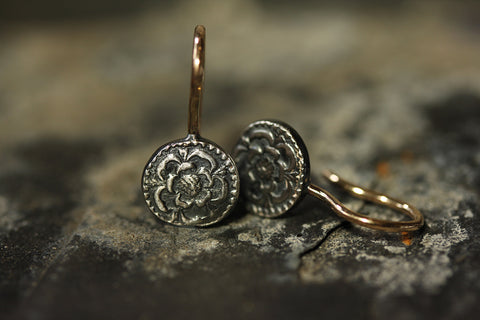 The Rose & Crown Drop Earrings in Sterling Silver with 9ct Gold Hooks by Laura Lee Jewellery, Trove Collection