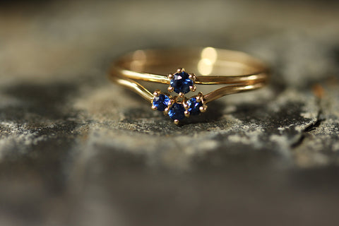 9ct Gold & Sapphire Nestling Ring with the Wishbone Ring - Laura Lee Jewellery Trove Collection