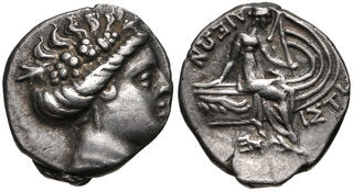 EUBOIA, Histiaia. 3rd-2nd centuries BC. AR Tetrobol (14mm, 2.11 g, 12h). Wreathed head of MAENAD right / Nymph seated right on prow of galley; wing on prow, trident below. BCD Euboia 387; HGC 4, 1524. VF, toned.