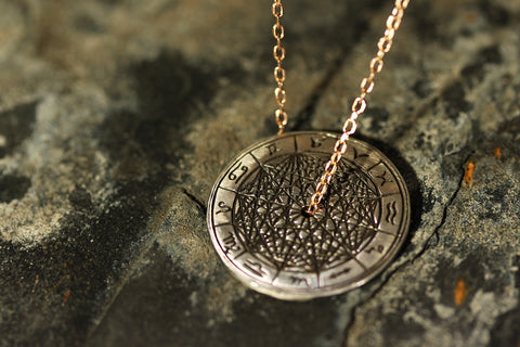 Sterling Silver Zodiac Coin Necklace with 9ct Gold Chain. Laura Lee Jewellery Trove Collection