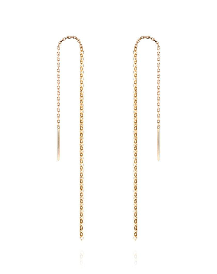 Lucky Chain Thread Through Earrings - Laura Lee Jewellery - 9ct Yellow Gold