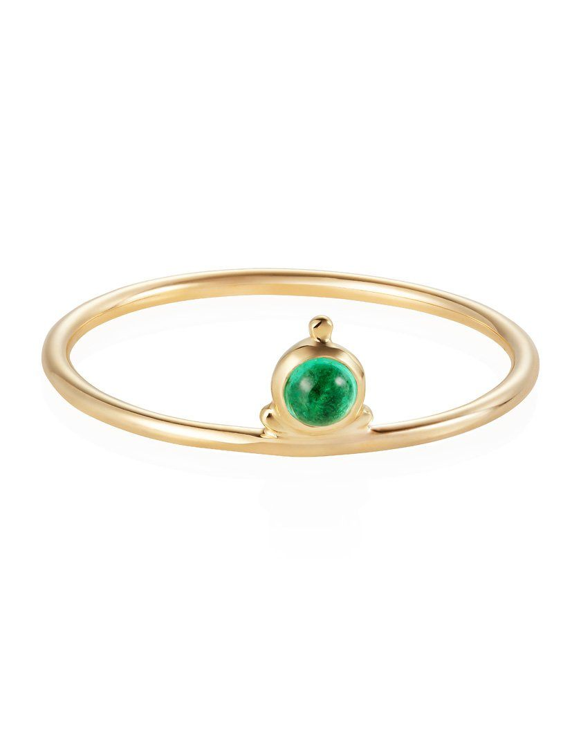 Dot Stacker Ring Emerald 9ct Yellow Gold