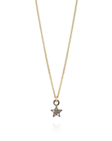 Diamond Set Star Necklace Yellow Gold