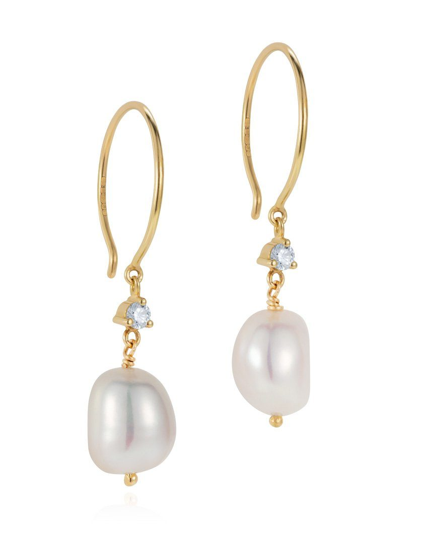Baroque Pearl And Diamond Drop Earrings