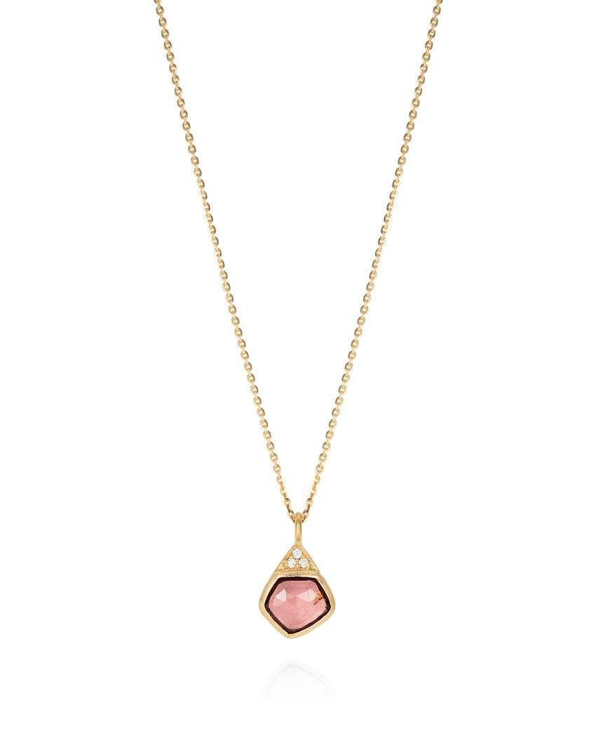 Pink Tourmaline and Tri-Diamond Pendant Necklace