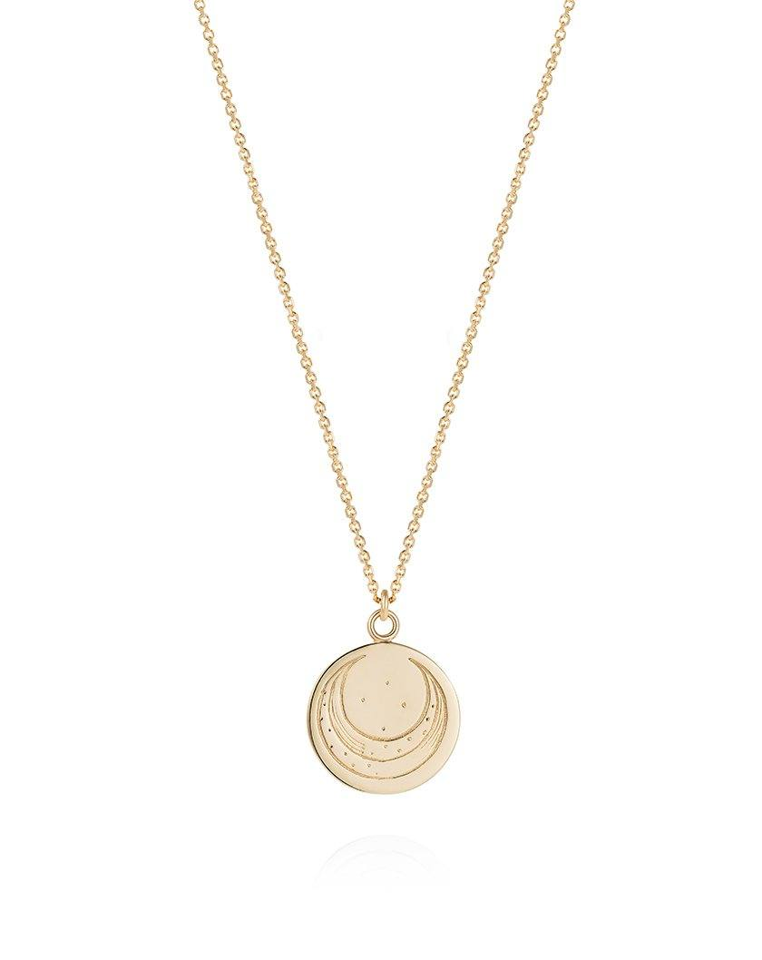 Mini Zodiac Luna Coin Necklace 9ct Yellow Gold